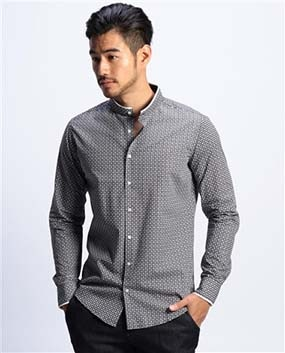 【MEN'S】幾何学柄バンドカラ—長袖シャツ
