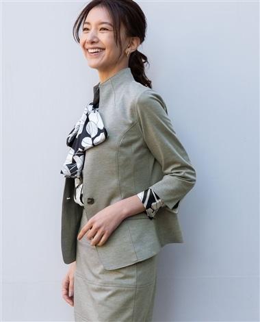 《セットアップスーツ対応》モクロディソフトスタンド七分袖ジャケット
