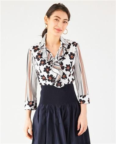 フラワーストライプミックスプリント襟付フリルカットソーシャツ