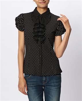 ドットプリントフリル半袖カットソーシャツ