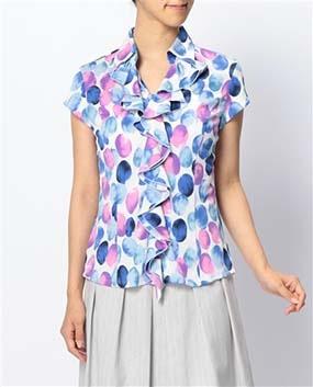 グラデーションドットプリントジャージ半袖カットソーシャツ