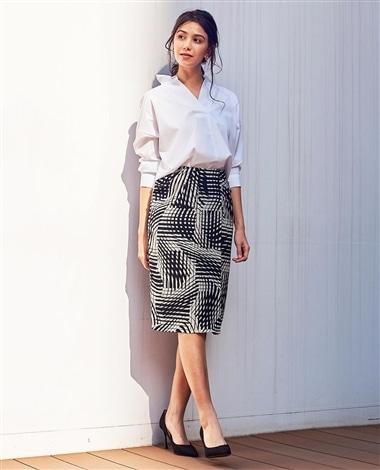 《セットアップ対応》ジオメトリックプリントスカート