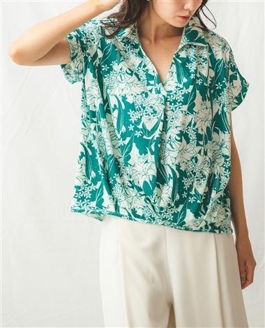 ランダムフラワープリントジャージー半袖スキッパーシャツ