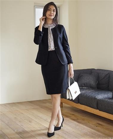 《セットアップスーツ対応》圧縮ウールタイトスカート