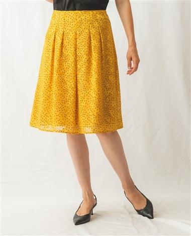 《セットアップ対応》カットジャガードドット柄スカート