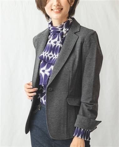 《セットアップスーツ対応》ミラノリブ裏起毛長袖テーラードジャケット