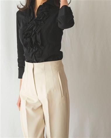 コットンスムース襟付フリル七分袖シャツ